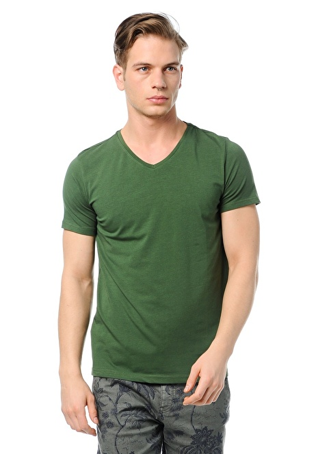 Lee Cooper V Yakalı Tişört Yeşil